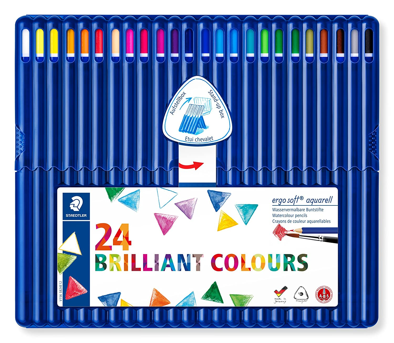 Staedtler Ergosoft Aquarell 156 SB24 Triangular Watercolour Pencil in Staedtler Box - Assorted Colou