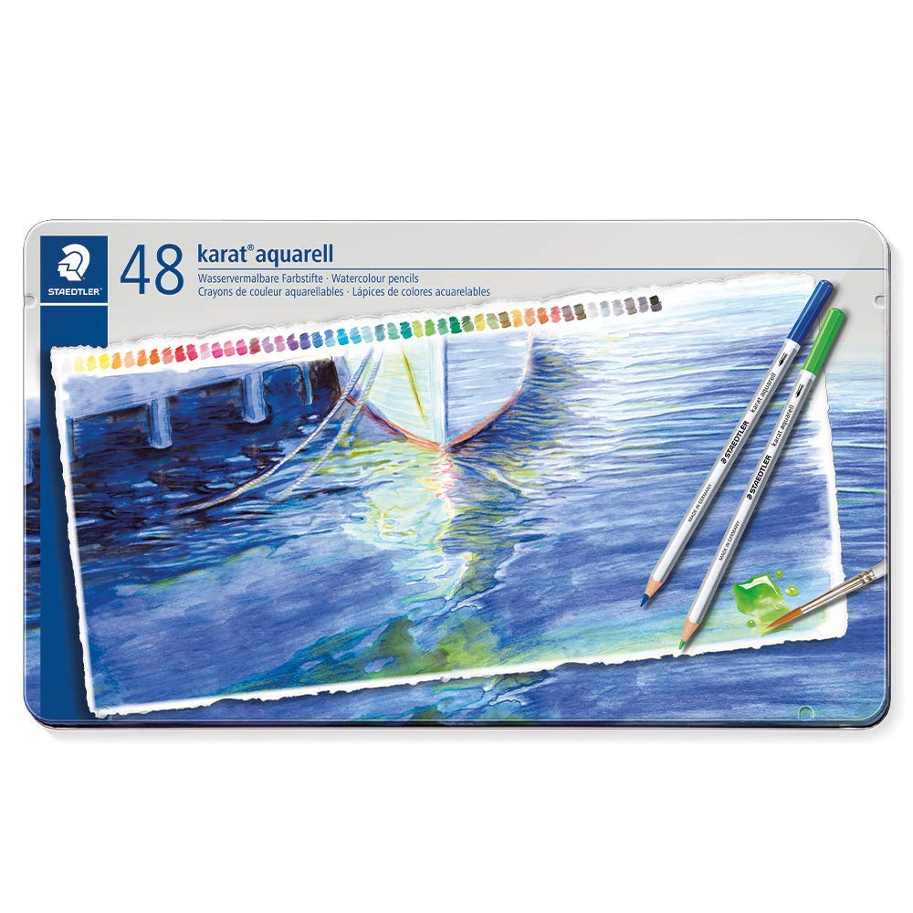Staedtler Karat Aquarell Professional Watercolour Pencils - Assorted Colours In Metal Box Set Of 48