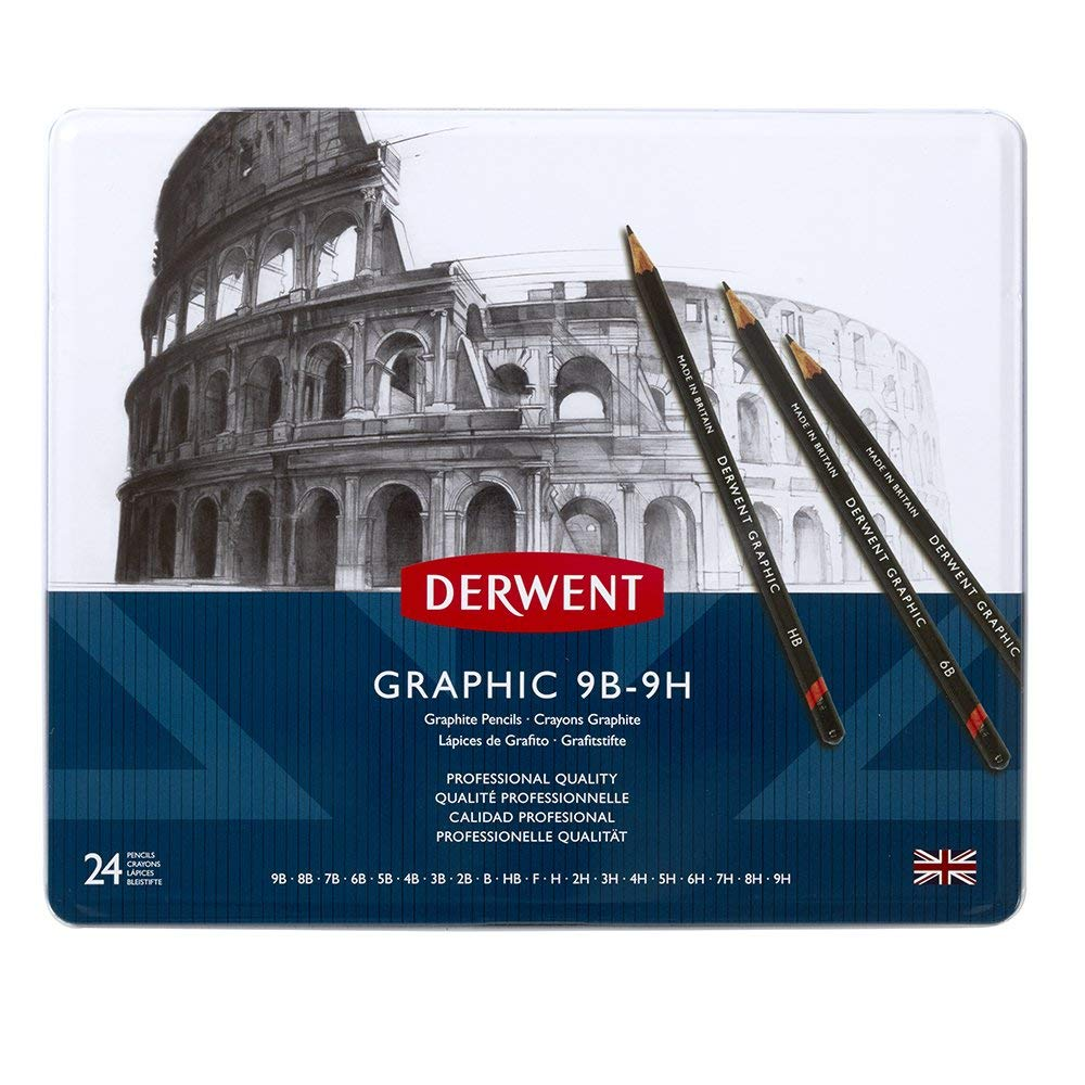 Derwent Graphic Full Set Graphite Pencils, 9B-9H (Set of 24)