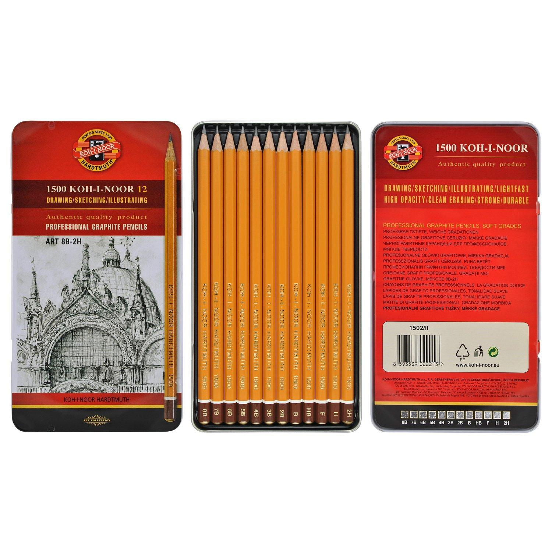 Koh-I-Noor Natural Professional Graphite Pencil Art Set of 12-8B-2H