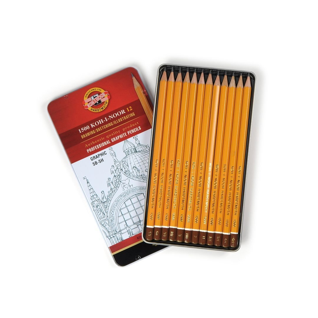 Koh-I-Noor Yellow Professional Graphite Pencil GRAPHIC Set of 12-5B-5H