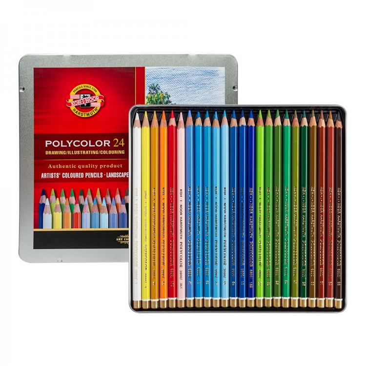 Koh-I-Noor Polycolor Artist's Coloured Pencils - Landscape - Set of 24 in Tin Box