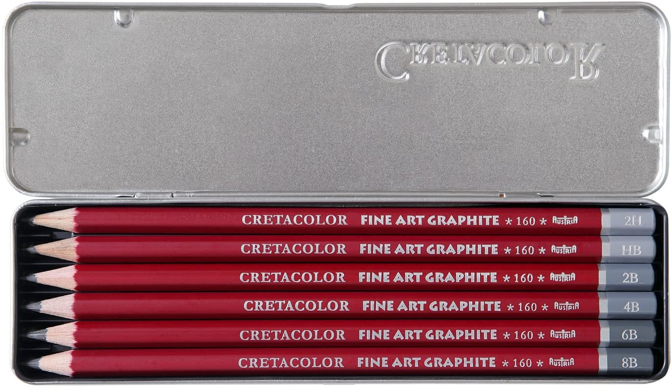 Cretacolor Cleos Fine Art Graphite Pencils Set of 6 in an Elegant Tin Box (1 of Each HB, 2H, 2B, 4B,