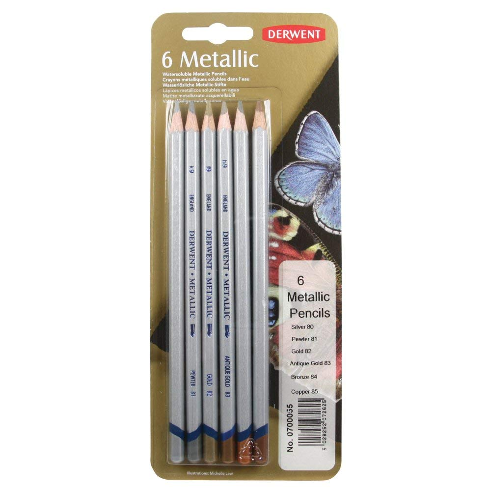 Derwent Metallic Traditional Watersoluble Colouring Pencils Blister (Set of 6)