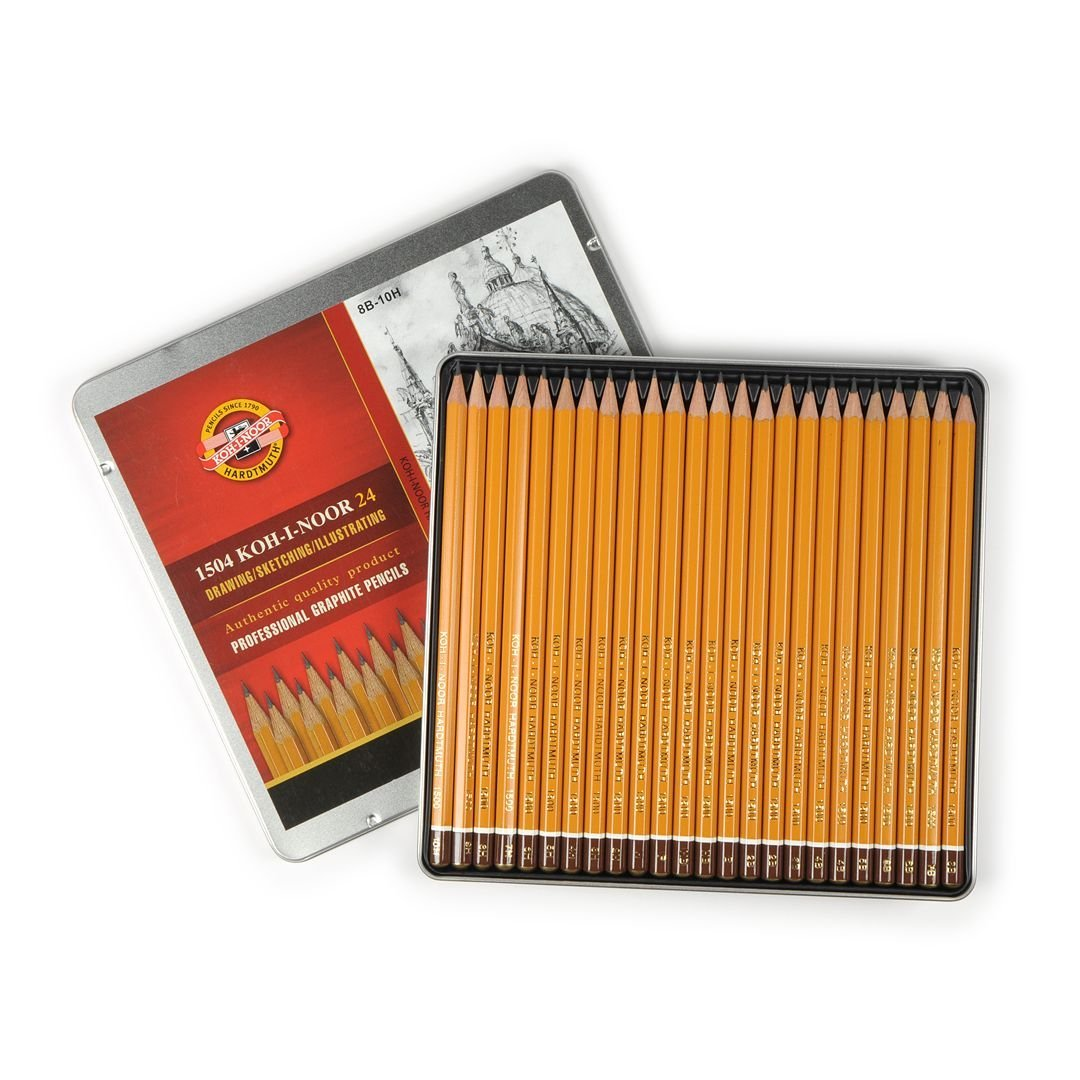 Koh-I-Noor Yellow Professional Graphite Pencil COMPLETE ART set of 24 - 8B-10H