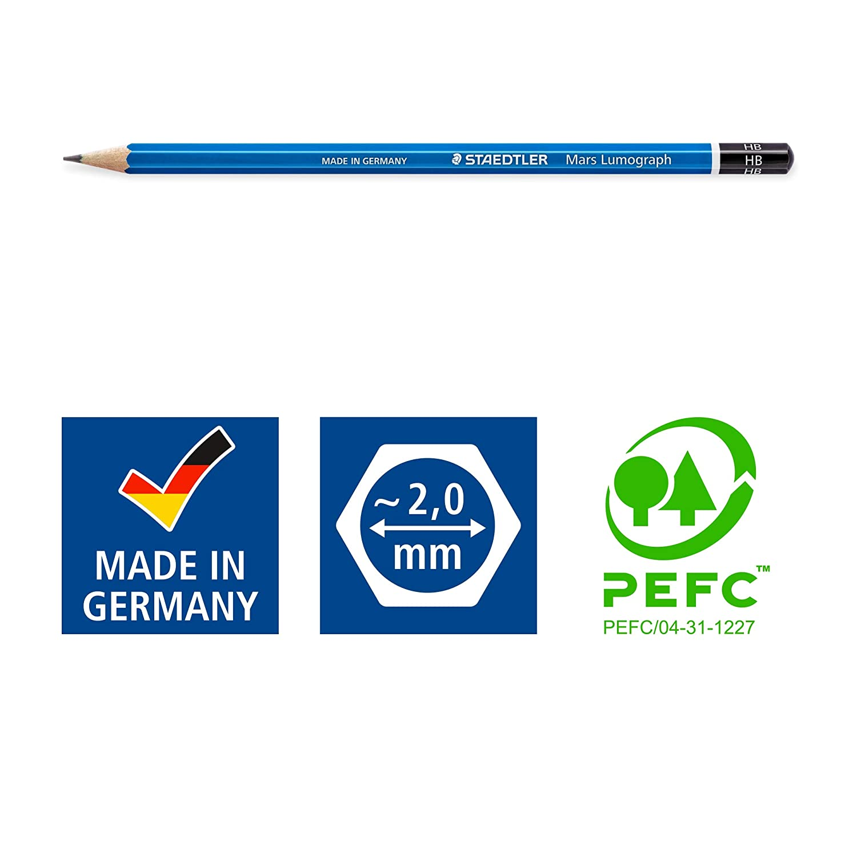Staedtler Mars Lumograph 100G6 Soft Grades 8B-HB Pencil (Tin Of 6)