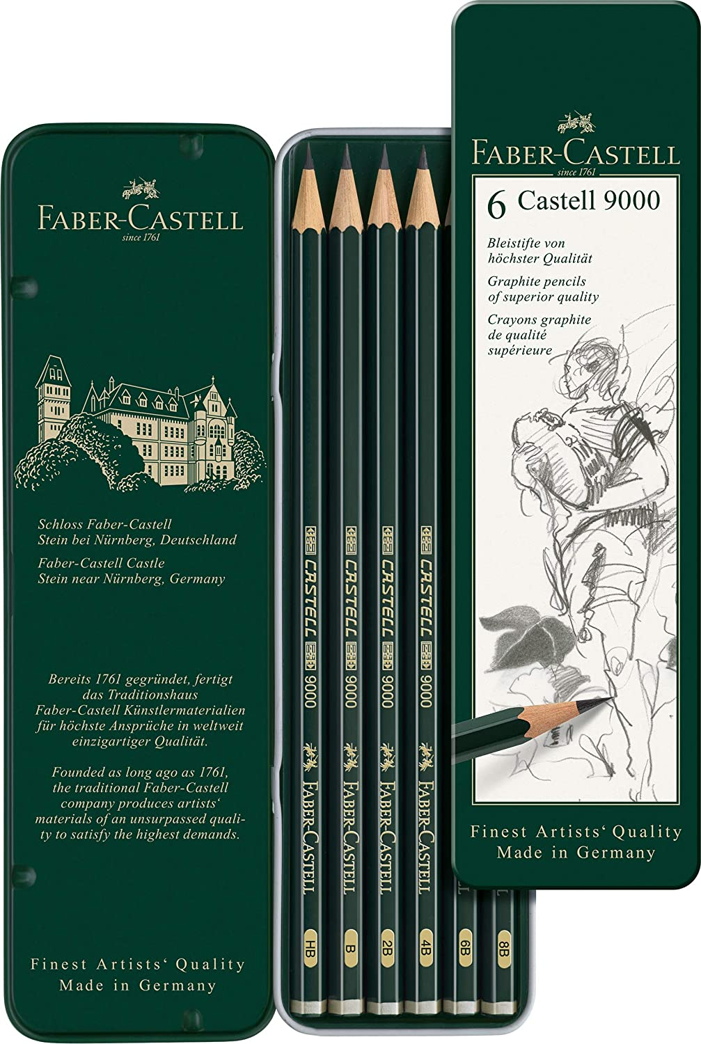 Faber-Castell Castell 9000 Pencil Set - Pack of 6