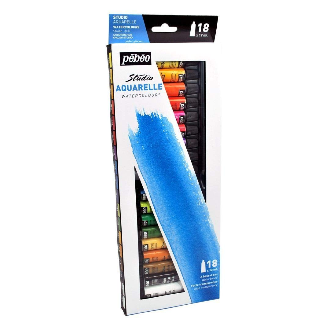 Pebeo Studio Aquarelle Fine Watercolours - Set of 18 Colours in 12 ML Tubes