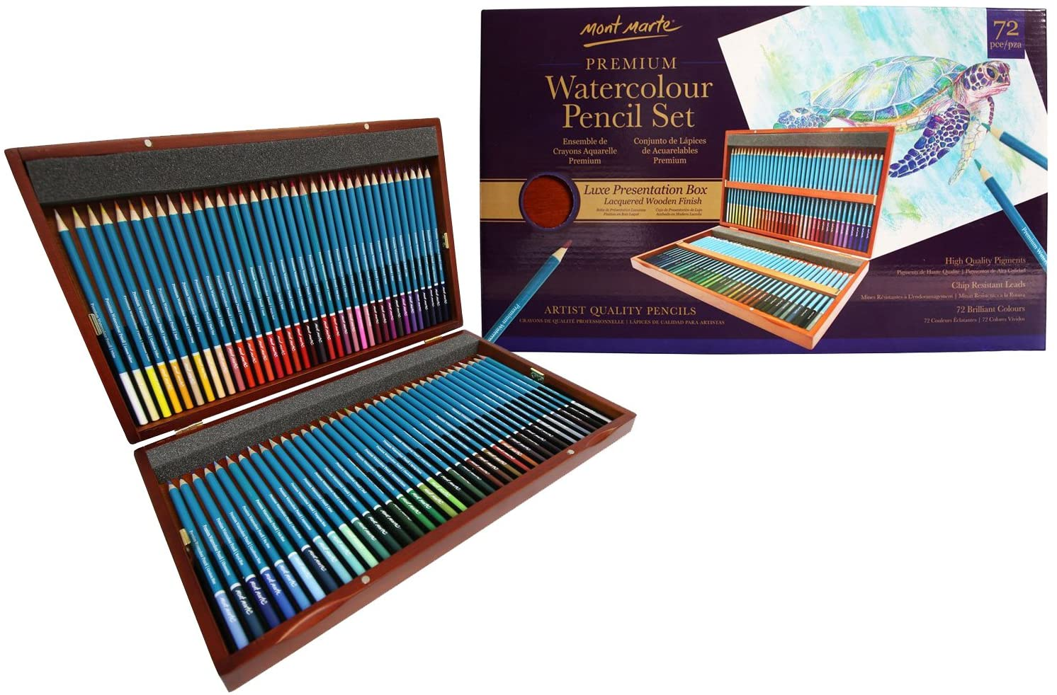 MONT MARTE Watercolour Pencils Set Deluxe - 72 pieces of Watercolour Pencils in a Classy Wooden Box