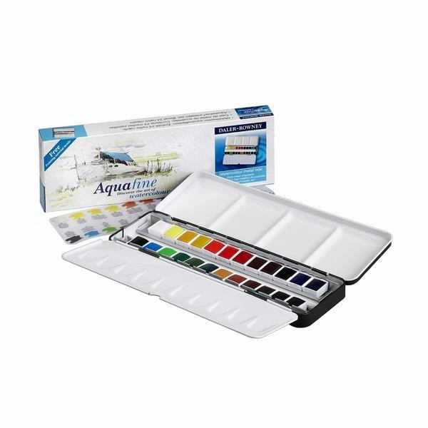 Daler-Rowney Aquafine Watercolour Metal Box 24 Half Pan Set