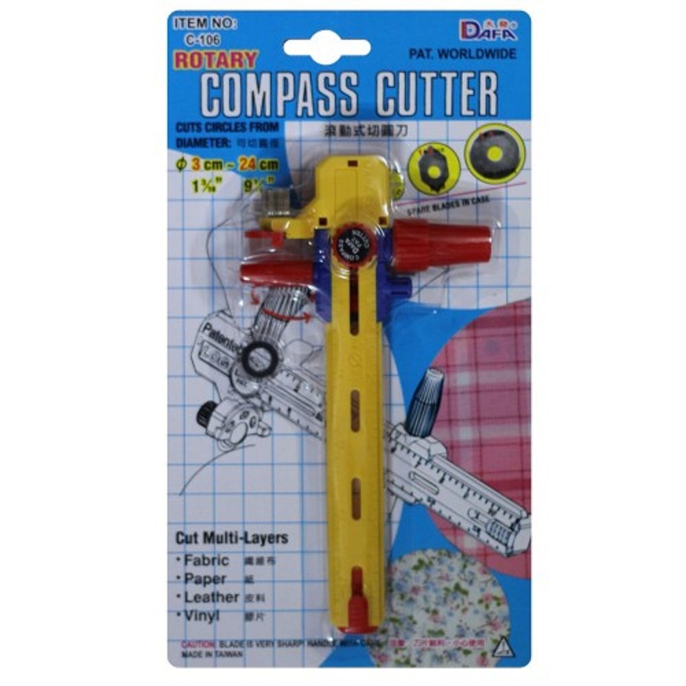 C-106 Rotary Compass Circle Cutter, Cut Multi Layers, Fabric Paper Leather Vinyl ??? Cut Diameter from