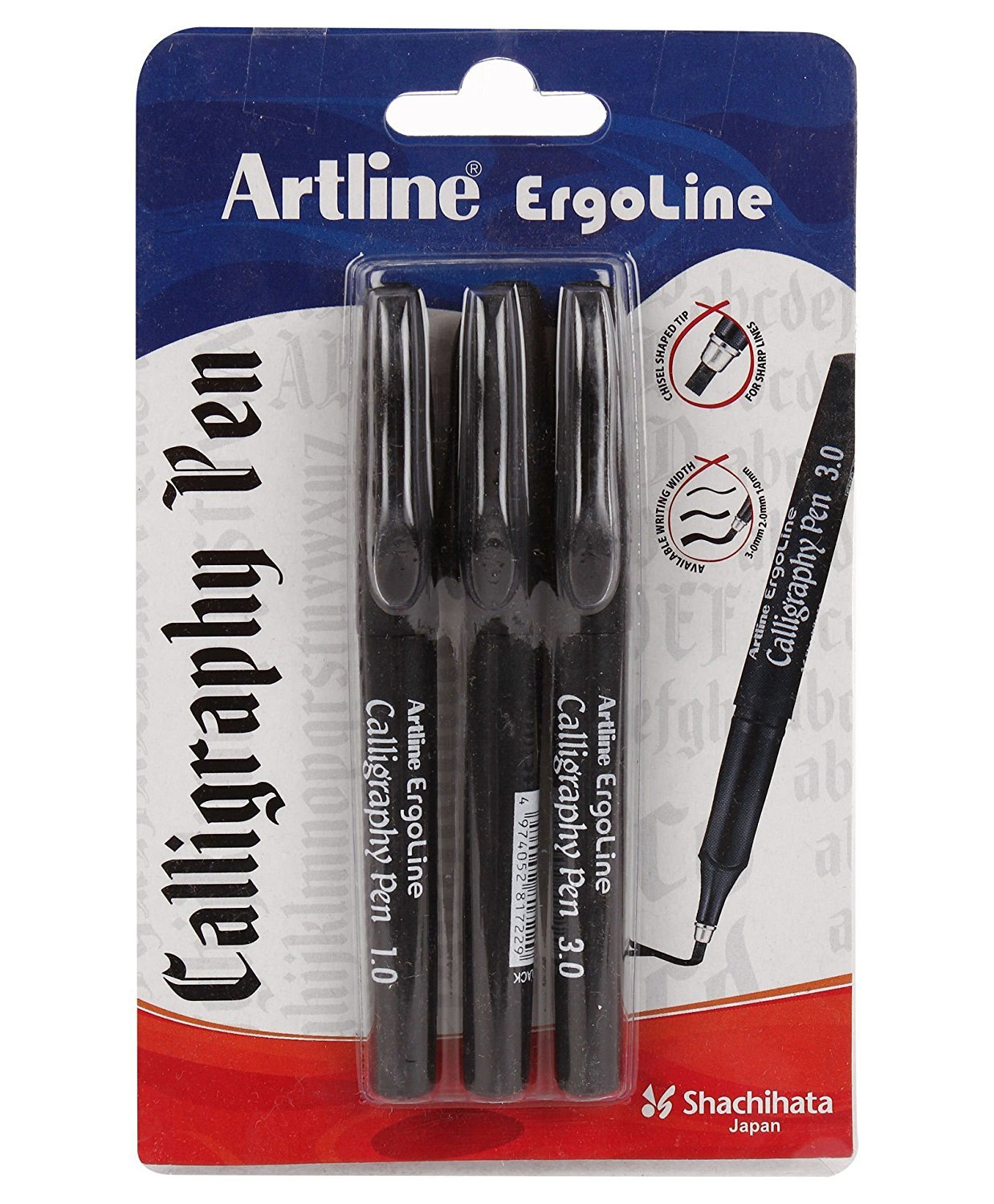 Artline Ergoline Calligraphy Pen Set with 3 Nib Sizes - Pack of 3 (Black)