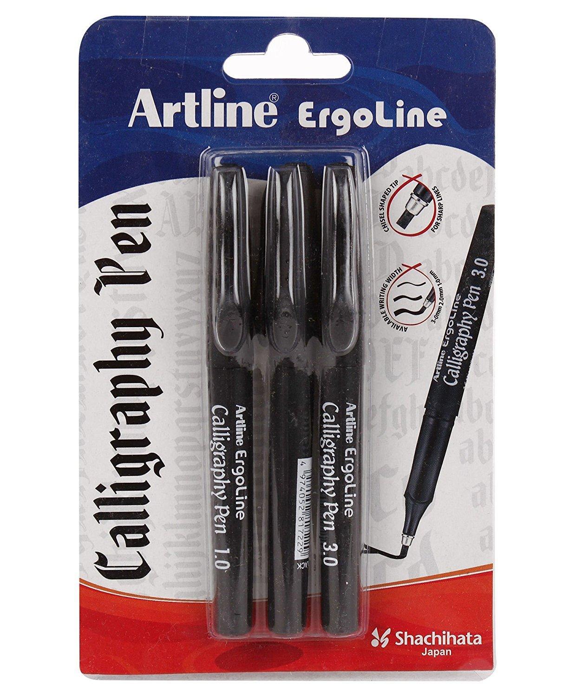 Artline Ergoline Calligraphy Pen Set with 3 Nib Sizes - Pack of 3 (BlUE)