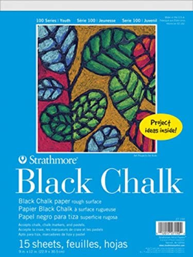 "Strathmore (27-150 STR-27-150 100 Series Black Chalk Paper, 9 by 12"", 15 Sheets"
