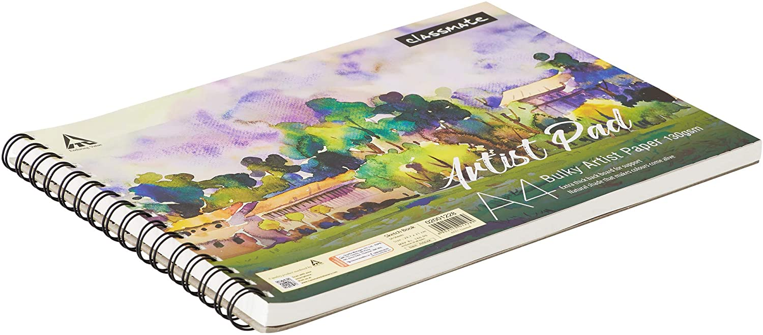 Classmate Sketchbook A4 Artist Pad with Bulky Artist Paper 130 GSM, 50 Sheets, 29.7 X 21 cm