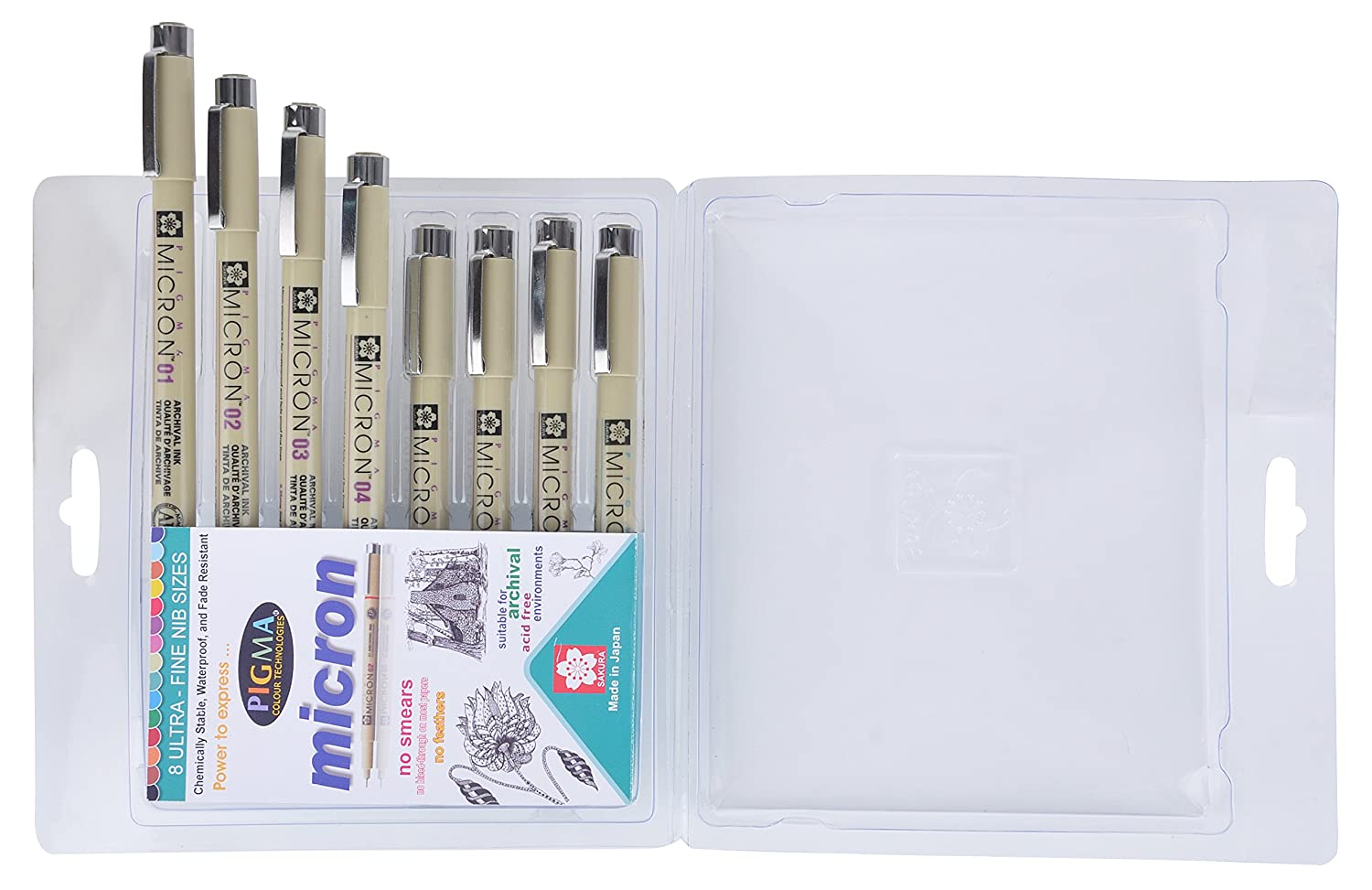 Sakura Pigma Micron Fine Line Pens - Set Of 8 Assorted Nibs In Black Colour (003,005,01,02,03,05,08)