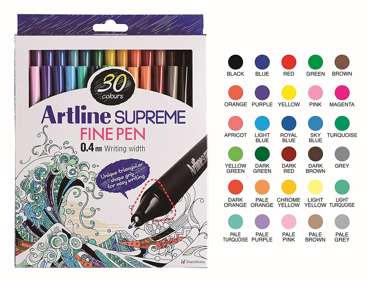 Artline 'Supreme Fine Pen' Fineliner Pens 0.4mm - Bright Vivid Colors For Technical Drawing - Pack 3