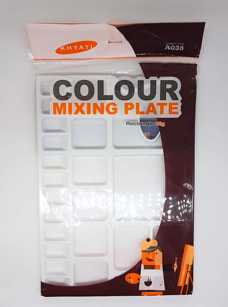 KHYATI Big Rectangle Shape Colour Mixing Palette/Tray for Artist/Students
