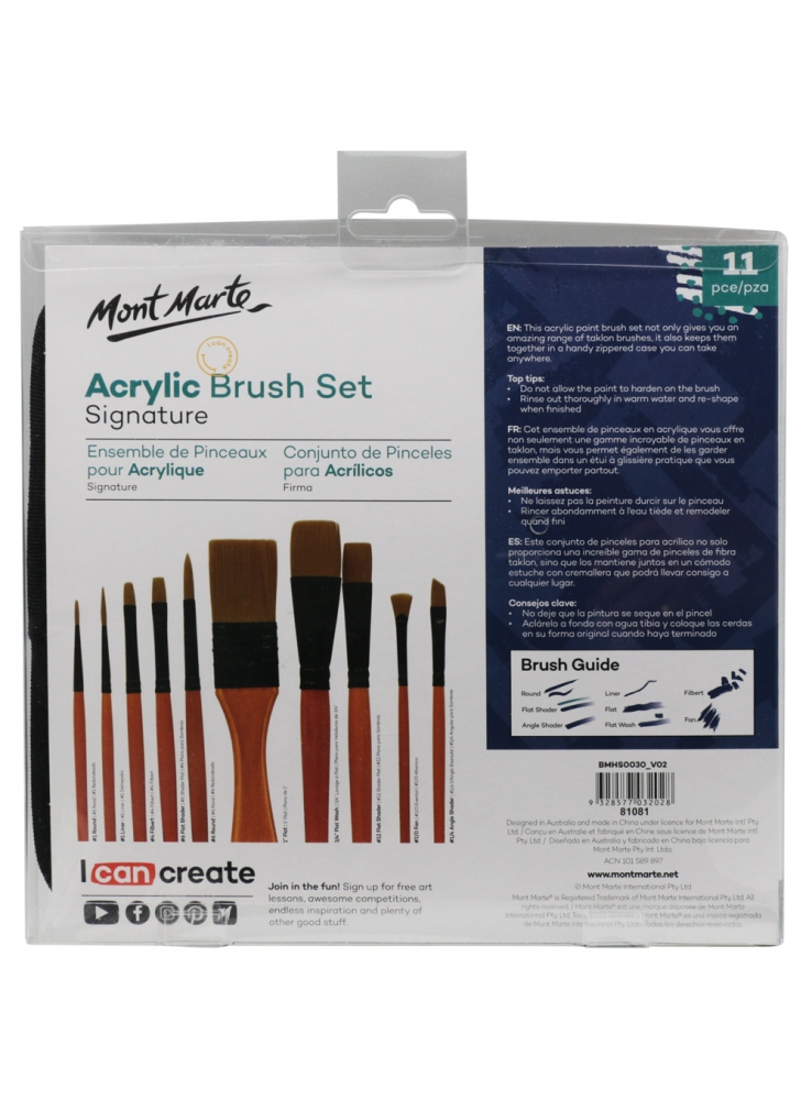 Monte Morte Taklon Brush Set in Wallet 11pce - Acrylic
