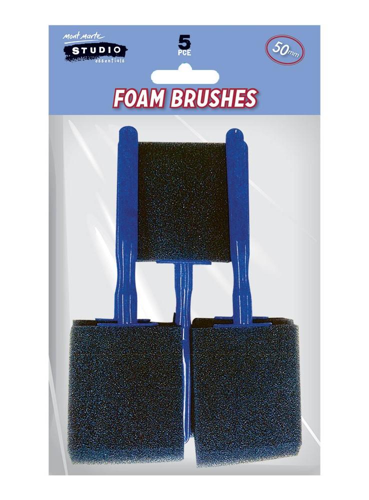Foam Hobby Brush 50mm 5pce Poly Bag