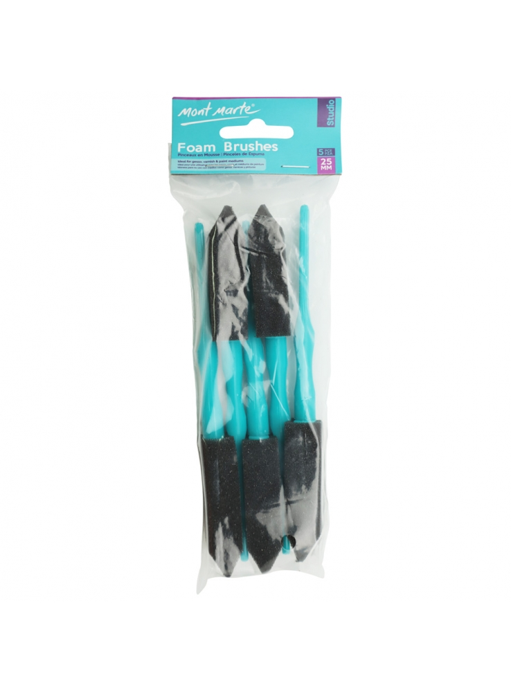 Foam Hobby Brush 25mm 5pce Poly Bag