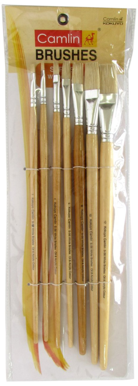 Camel Paint Brush Series 56 - White Bristle Flat, Set of 7