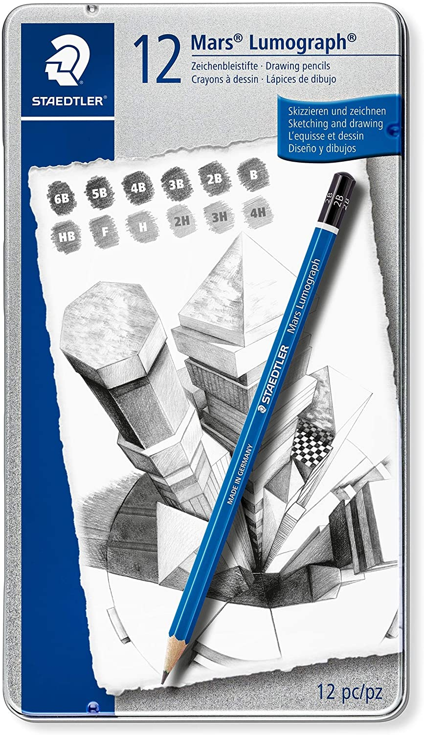 Staedtler Mars Lumograph Art Drawing Pencils, 12 Pack Graphite Pencils in Metal Case