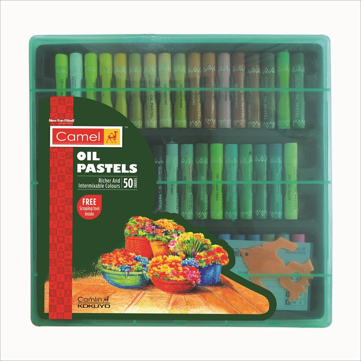 Camel Oil Pastel with Reusable Plastic Box - 50 Shades