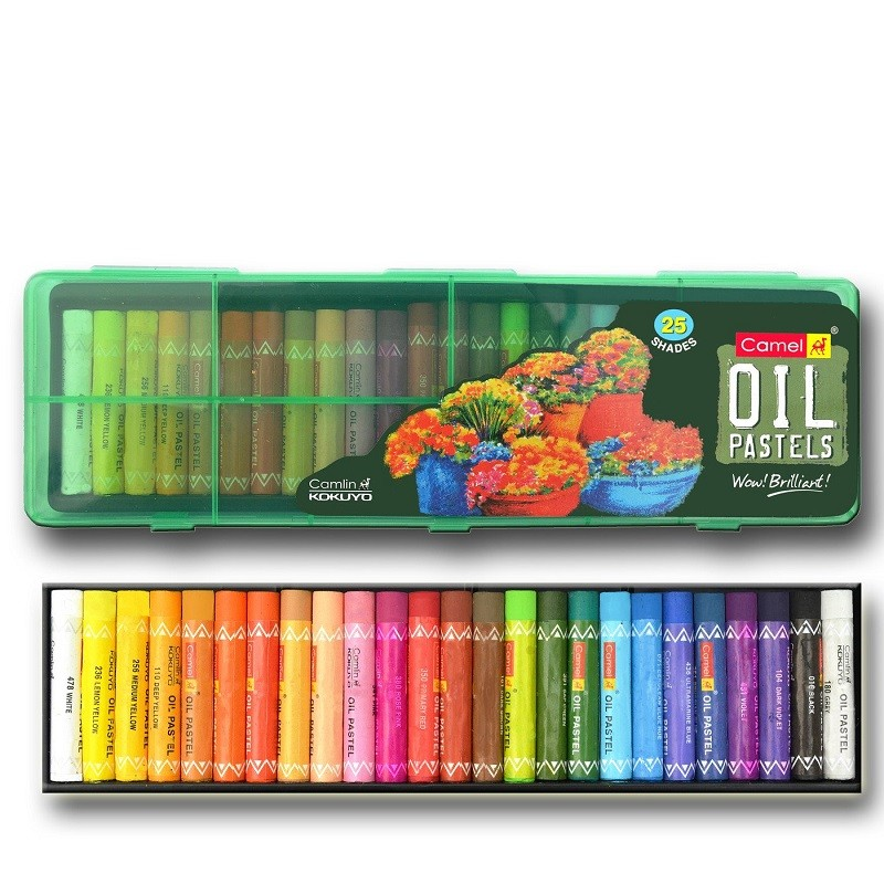 Camel Oil Pastel with Reusable Plastic Box - 25 Shades