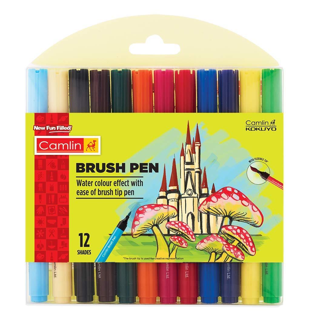Camlin Brush Pen, 12 Shades (Multicolor)
