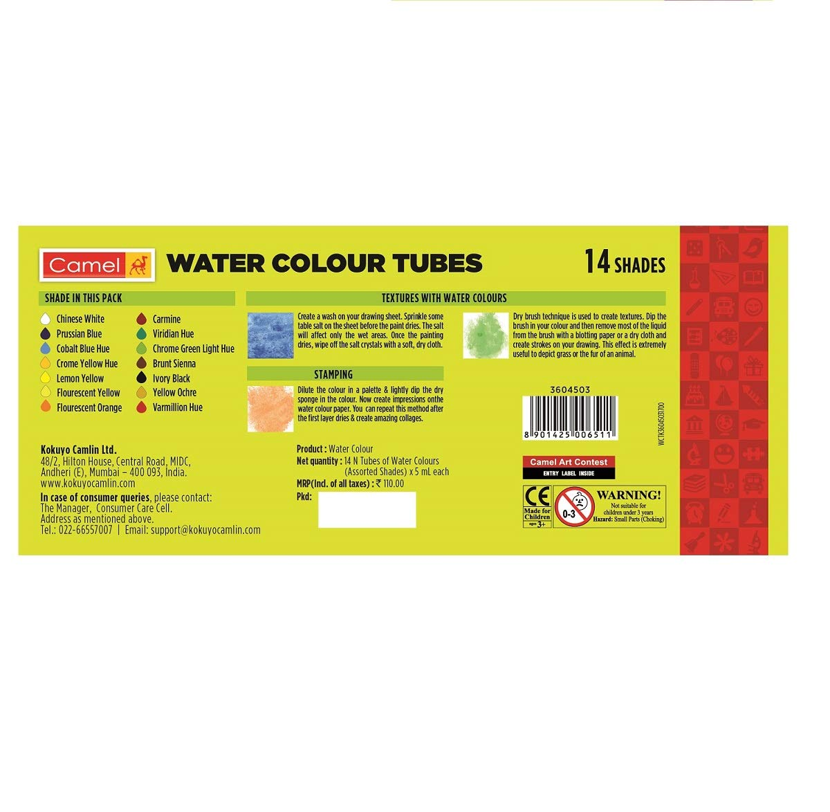 Camel Student Water Color Tube - 5ml, 14 Shades