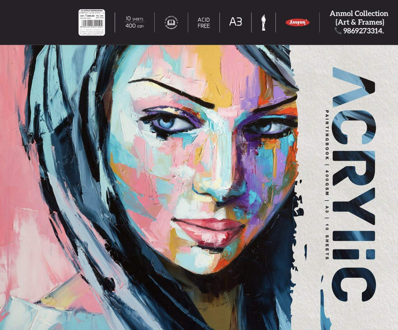 Anupam Artists Acrylic Papers, A3 Size, 400 GSM, 10 Sheets