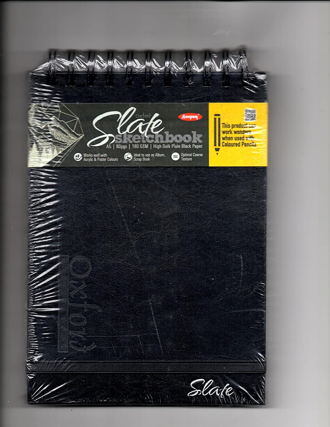 ANUPAM Oxford A5 Black Pages Sketch Book 80 Pages, 180 GSM