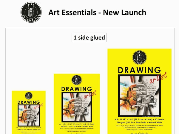 Art Essentials Drawing Artist A3 Natural White Fine Grain 180 GSM Paper, Polypack of 5 Sheets