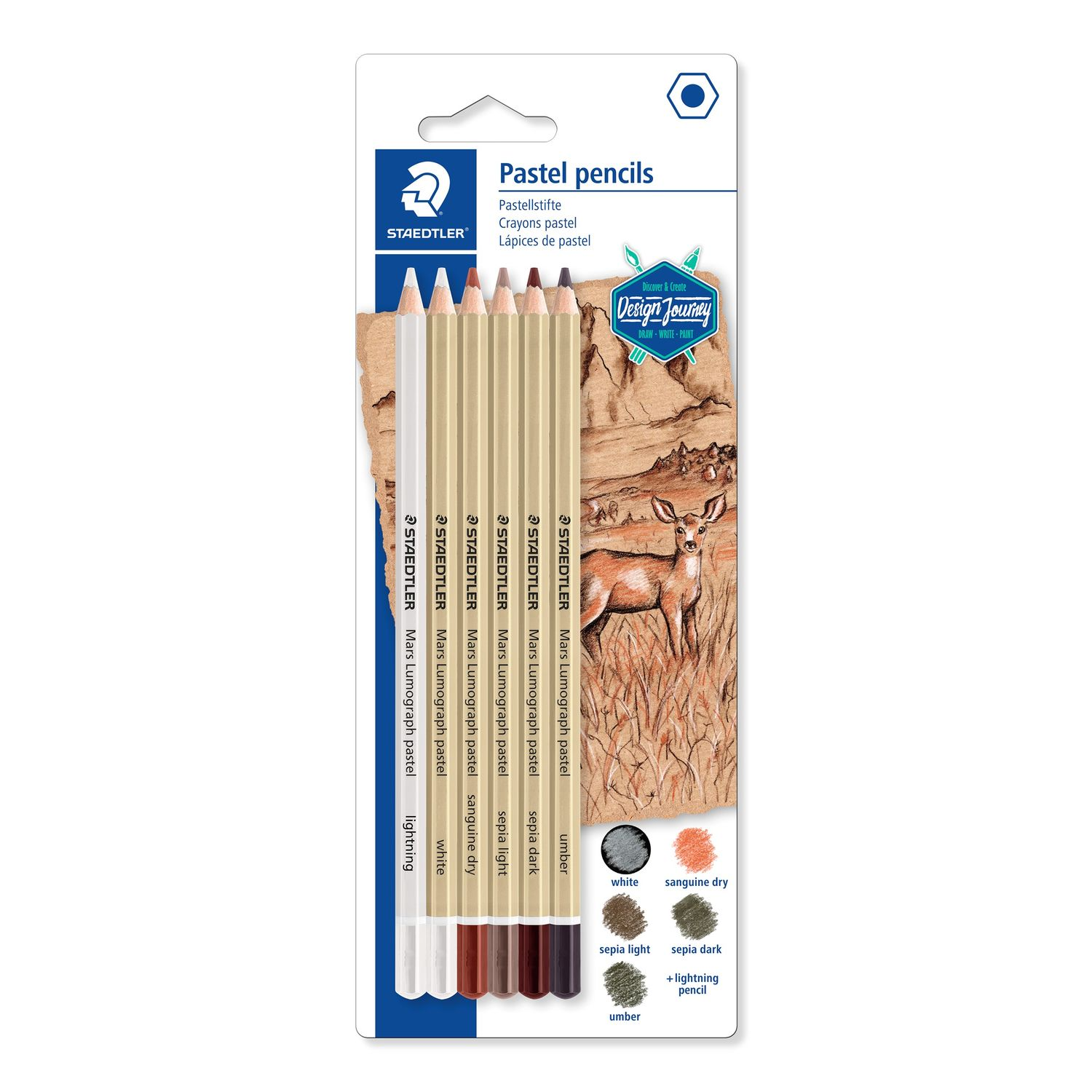 STAEDTLER Mars Lumograph premium quality Pastel colour pencils set of 6 pastel colours