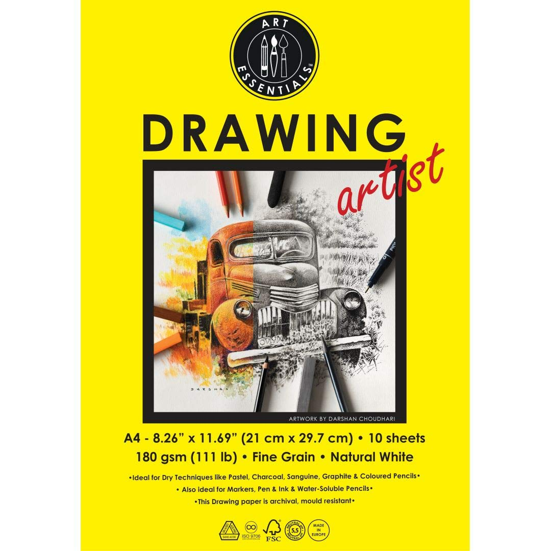 Art Essentials Drawing Artist A4 (21 cm x 29.7 cm) Natural White Fine Grain 180 GSM Paper, Polypack
