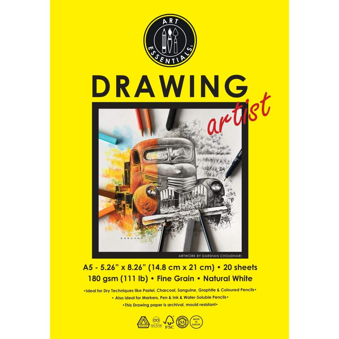 Art Essentials Drawing Artist A5 (14.8 cm x 21 cm) Natural White Fine Grain 180 GSM Paper, Polypack