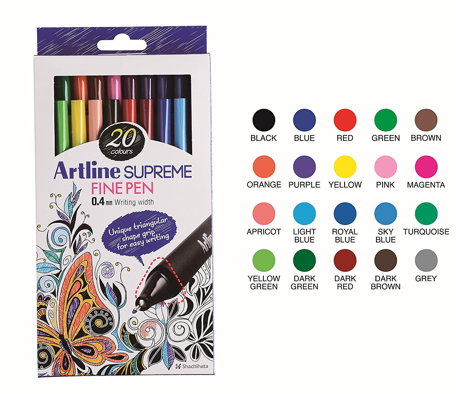 Artline Supreme Fine Pen Fineliner Pens 0.4mm - Bright Vivid Colors For Technical Drawing - Pack 20
