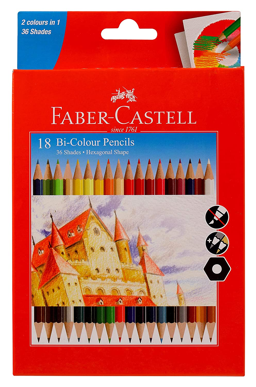 Faber-Castell Bi-Colour Pencil, Pack of 18 (Assorted)