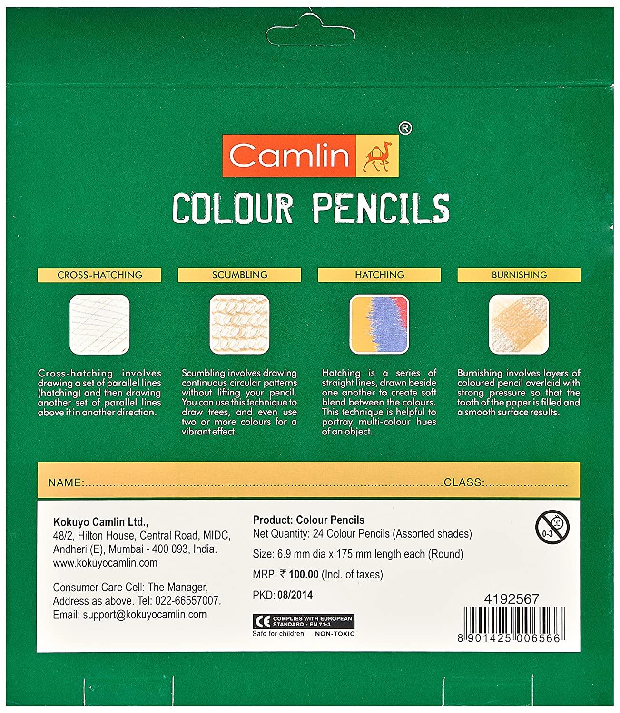 Camlin Kokuyo 24-Shade Full Size Colour Pencil Set (Assorted)