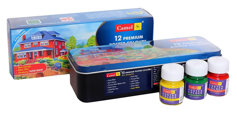Camlin Kokuyo Premium Poster Color - 10ml Each, 12 Shades