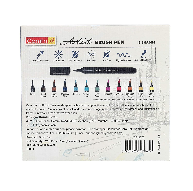 Camlin Artist Brush Pen Set - Pack of 12 (White)