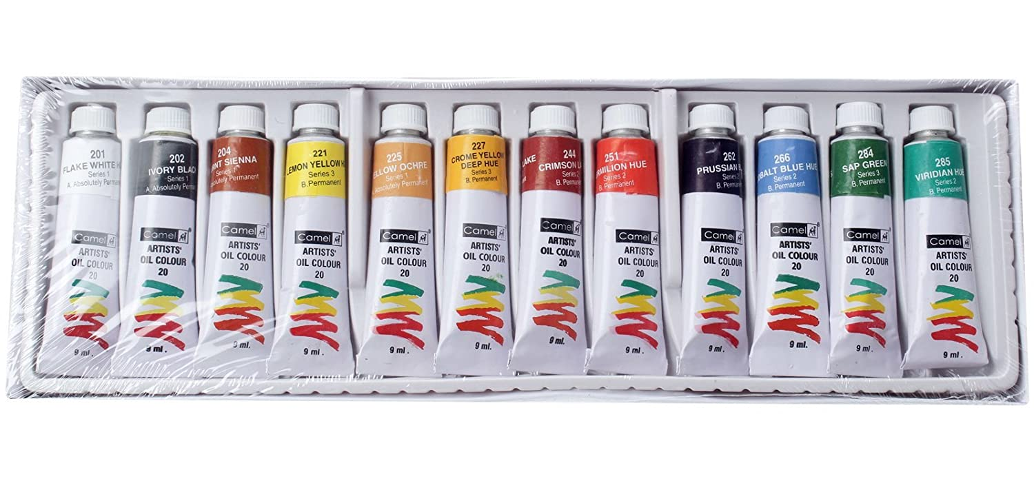 Camel Artist's Oil Color Box - 20ml Tubes, 12 Shades