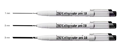 Zig Calligraphy Oblique Tip Pen Black Assortment Set of 3