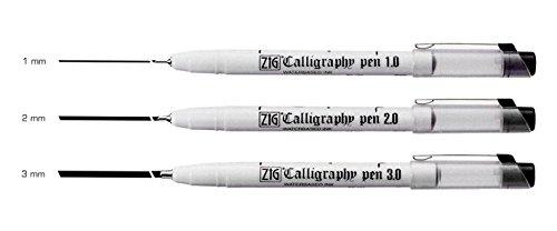Zig Calligraphy Oblique Tip Pen Black Assortment Set of 3