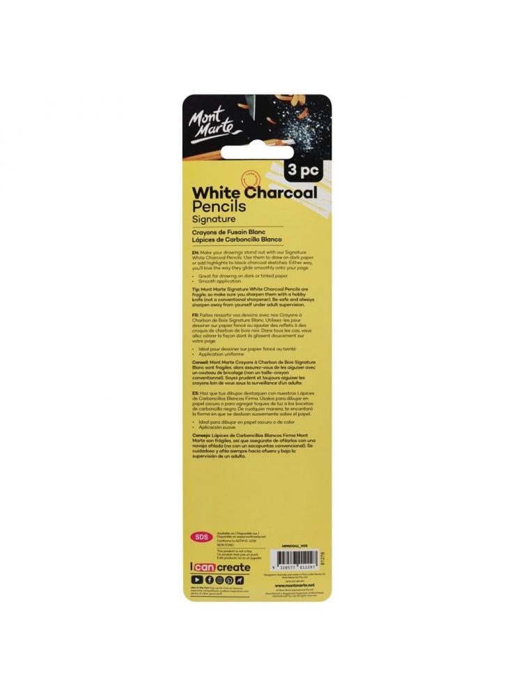 Mont Marte Signature White Charcoal Pencils 3pc