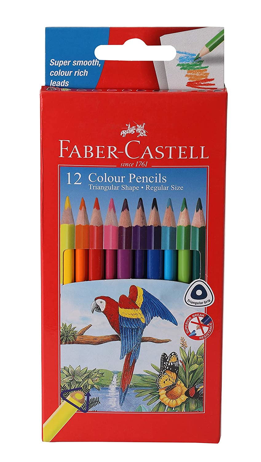 Faber-Castell Triangular Colour Pencils - Pack of 12 (Assorted)