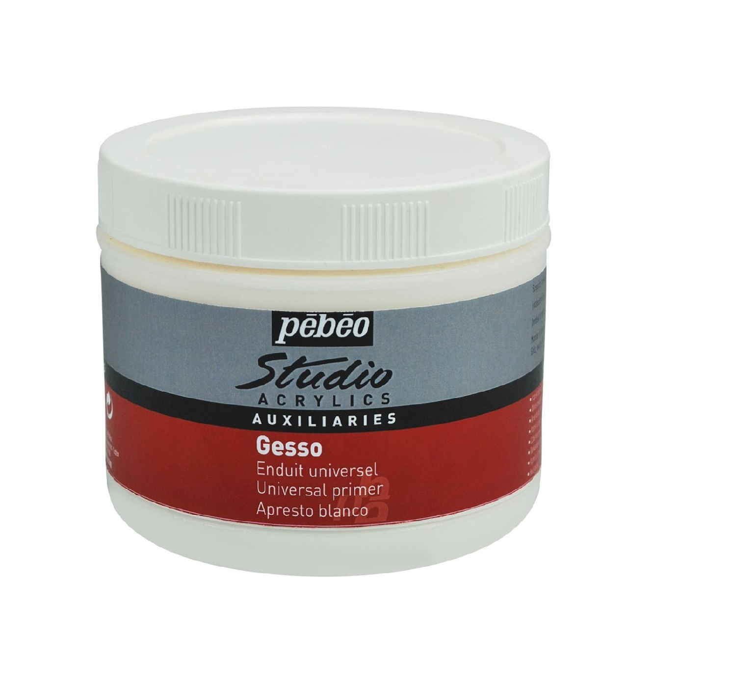 Pebeo Studio Acrylics Auxiliaries Gesso - White - Jar of 500 ml