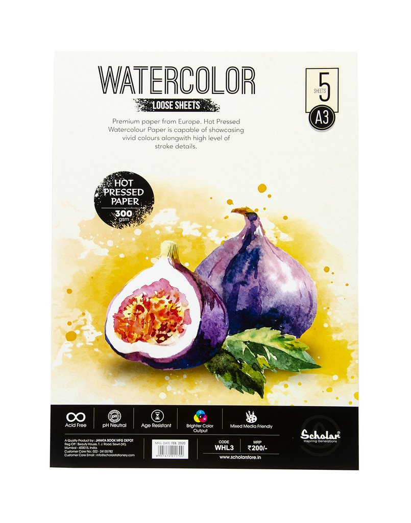 Scholar A3 WATERCOLOUR HOT PRESSED LOOSE SHEETS - 300 GSM (WHL3)