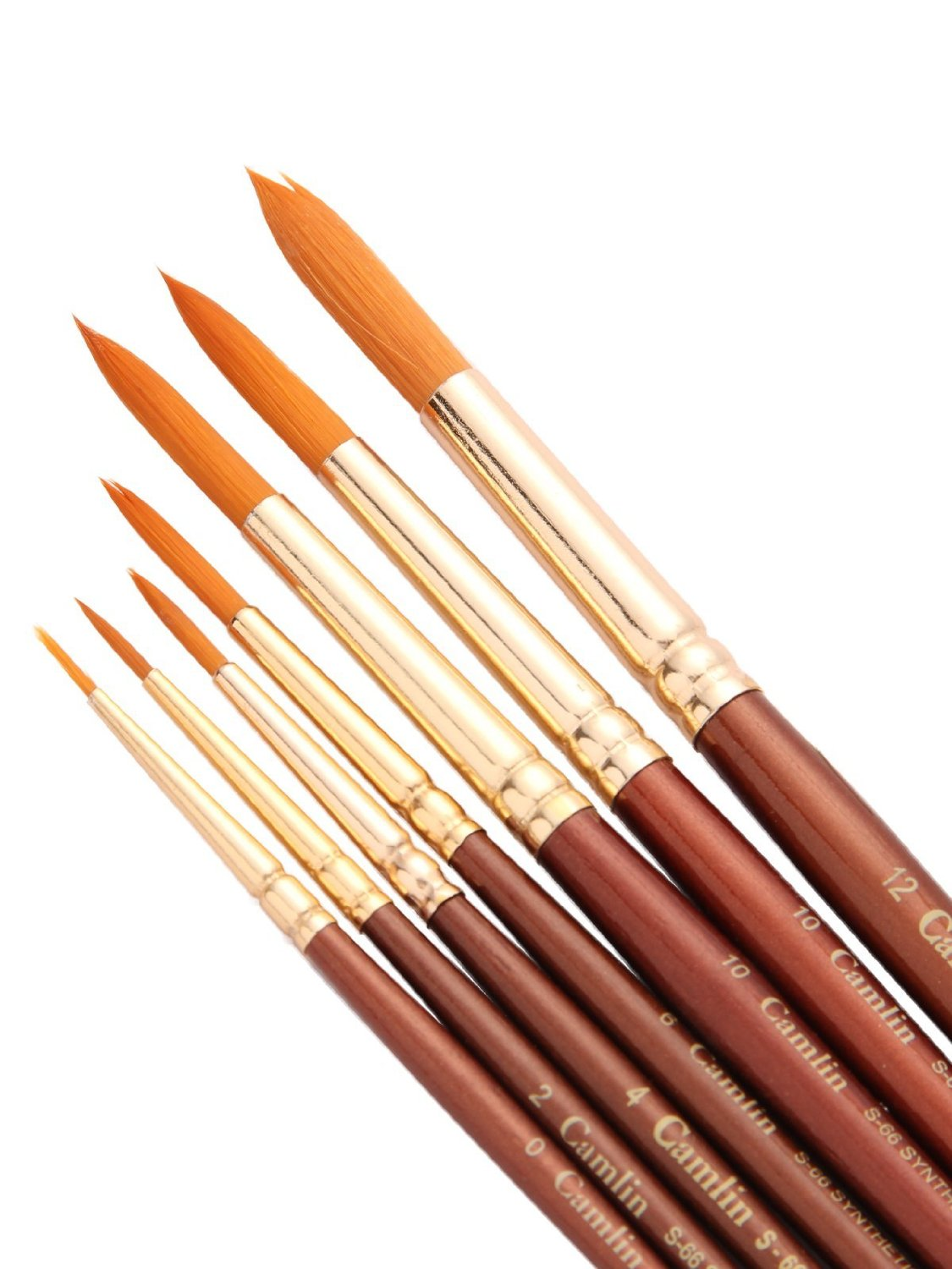 Camlin Paint Brush Series 66 - Round Synthetic Gold, Set Of 7